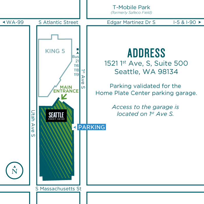 Map of the Seattle Credit Union Headquarters.