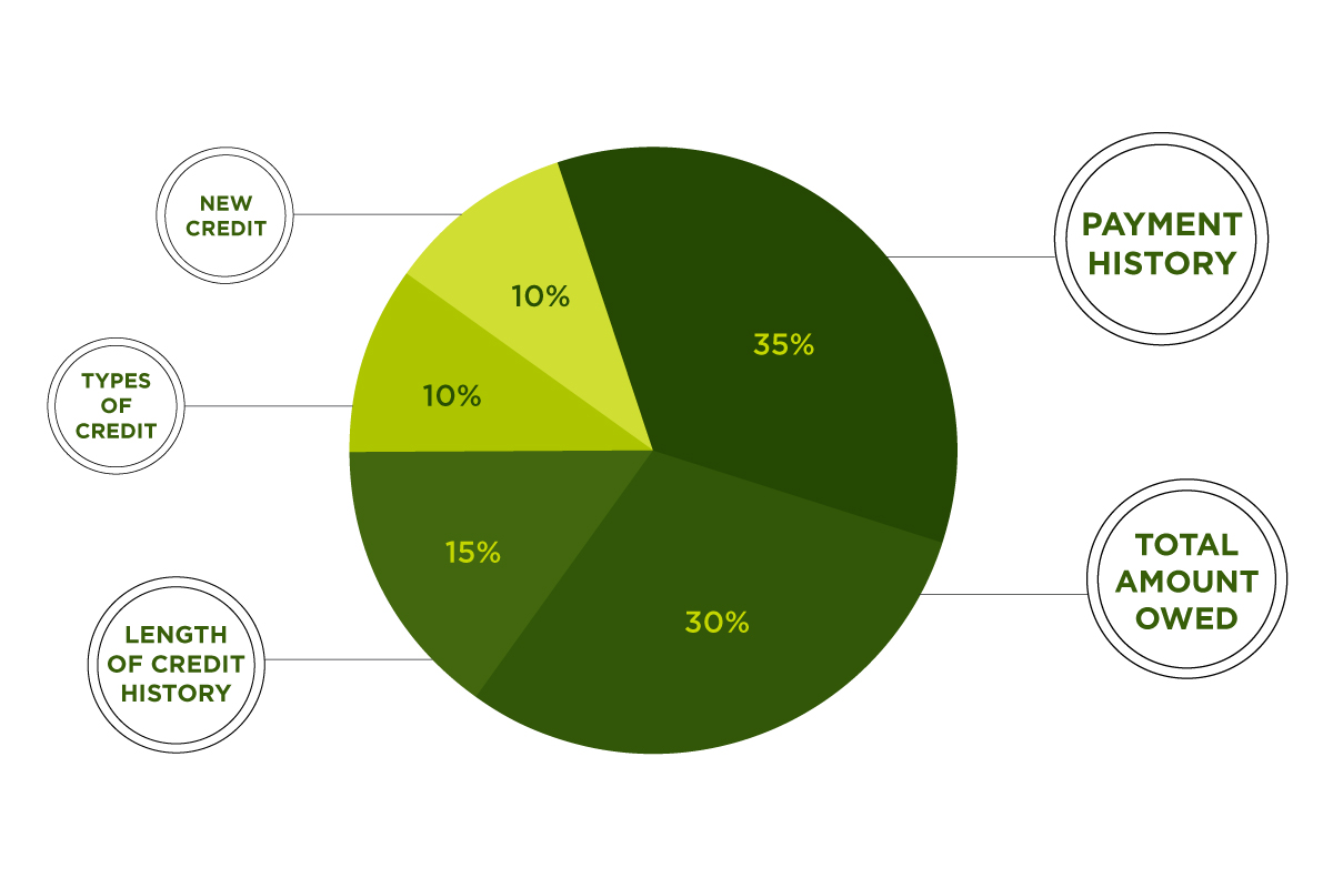 A pie graph showing how a credit score is broken down by percentages. Click to view the full infographic.